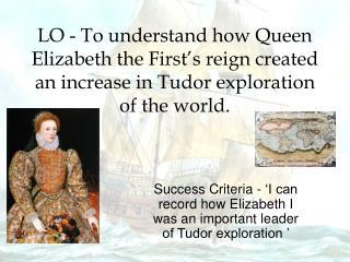 Success Criteria - 'I can record how Elizabeth I was an important leader of Tudor exploration '