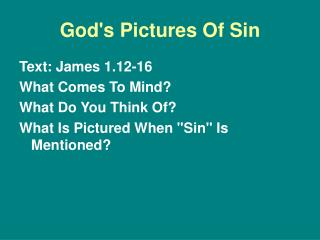 God's Pictures Of Sin