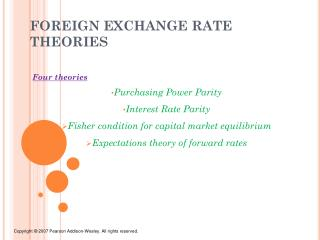 FOREIGN EXCHANGE RATE THEORIES