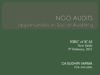 NGO AUDITS opportunities in Social Auditing