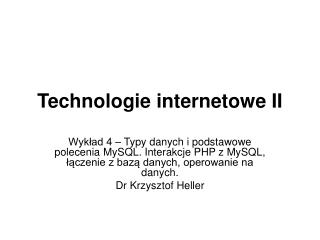 Technologie internetowe II