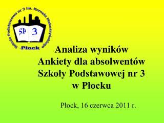 Analiza wyników  Ankiety dla absolwentów Szkoły Podstawowej nr 3  w Płocku