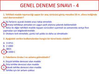 GENEL DENEME SINAVI - 4