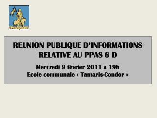 REUNION PUBLIQUE D'INFORMATIONS  RELATIVE AU PPAS 6 D  Mercredi 9 février 2011 à 19h