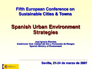 Fifth European Conference on Sustainable Cities & Towns
