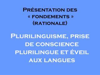 Pr�sentation des  � fondements � (rationale)