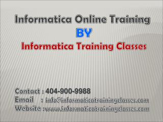 Informatica Training By Informatica Training Classes
