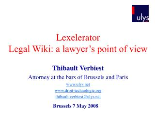 Lexelerator Legal Wiki: a lawyer's point of view