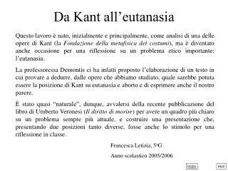 Da Kant all'eutanasia