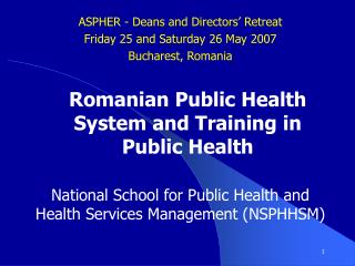 National School for Public Health and Health Services Management (NSPHHSM)