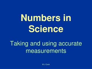 Numbers in Science