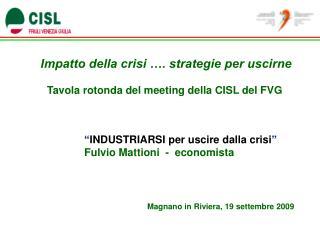 Impatto della crisi …. strategie per uscirne Tavola rotonda del meeting della CISL del FVG