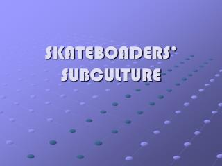 SKATEBOADERS' SUBCULTURE