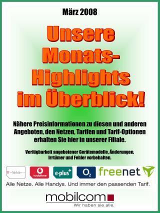 Unsere Monats- Highlights im Überblick!