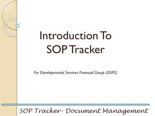 SOP Tracker- Document Management