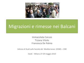 Migrazioni e rimesse nei Balcani