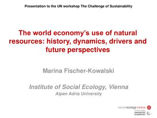 The world economy's use of natural resources: history, dynamics, drivers and future perspectives