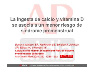 La ingesta de calcio y vitamina D se asocia a un menor riesgo de síndrome premenstrual