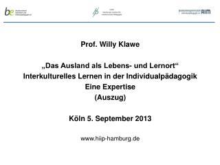 """Prof. Willy Klawe """"Das Ausland als Lebens- und Lernort"""""""