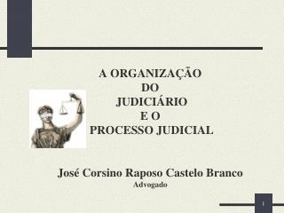 A ORGANIZA  O  DO  JUDICI RIO  E O  PROCESSO JUDICIAL   Jos  Corsino Raposo Castelo Branco Advogado