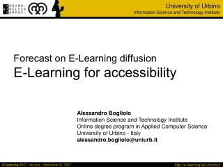 Forecast on E-Learning diffusion E-Learning for accessibility