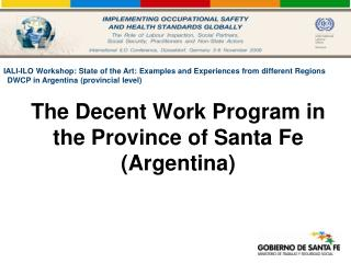 The Decent Work Program in the Province of Santa Fe Argentina