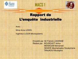 Rapport de  L'enquête  industrielle
