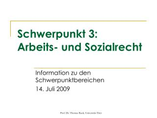 Schwerpunkt 3: Arbeits- und Sozialrecht