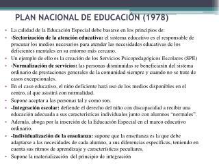 PLAN NACIONAL DE EDUCACIÓN (1978)