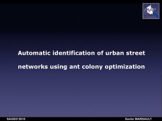 Automatic identification of urban street networks using ant colony optimization