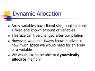 Dynamic Allocation