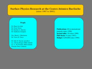Surface Physics Research at the Centro Atómico Bariloche (since 1987 to 2001)