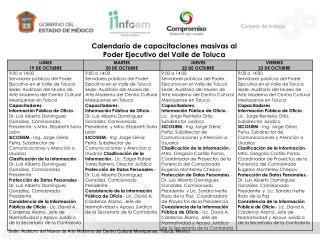 Calendario de capacitaciones masivas al  Poder Ejecutivo del Valle de Toluca