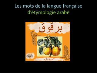 Les mots de la langue française d'étymologie arabe