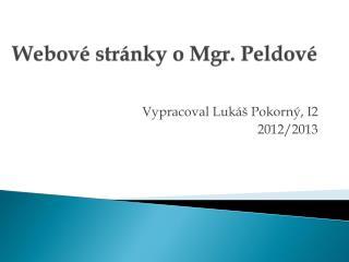 Webové stránky o Mgr. Peldové