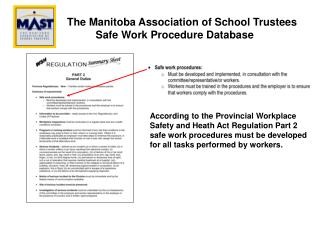 The Manitoba Association of School Trustees           Safe Work Procedure Database