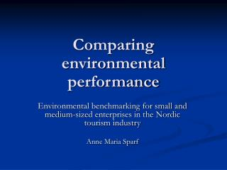 Comparing environmental performance