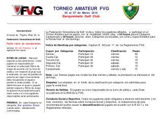 TORNEO  AMATEUR  FVG 05  al  07  de  Marzo  2010 Barquisimeto  Golf  Club