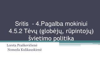 Sritis  - 4.Pagalba mokiniui 4.5.2  Tėvų (globėjų, rūpintojų) švietimo politika