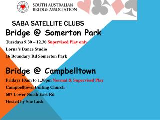 SABA Satellite clubs