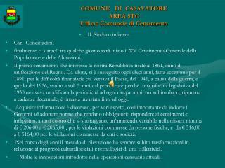 COMUNE    DI   CASAVATORE AREA STC  Ufficio Comunale di Censimento