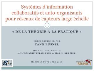 Systèmes d'information  collaboratifs et  auto-organisants pour réseaux de capteurs large échelle