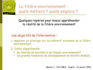 La fili re environnement :  quels m tiers  quels emplois