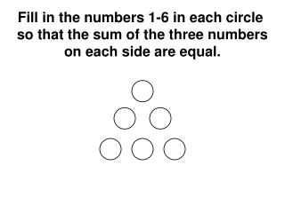 Fill in the numbers 1-6 in each circle  so that the sum of the three numbers