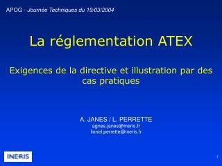 La r glementation ATEX  Exigences de la directive et illustration par des cas pratiques