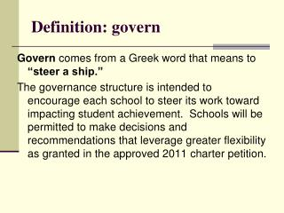 Definition: govern