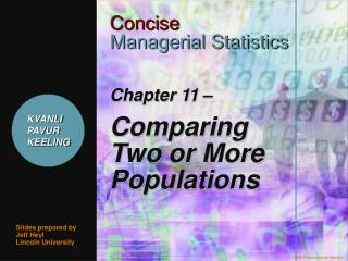 Chapter 11    Comparing Two or More Populations