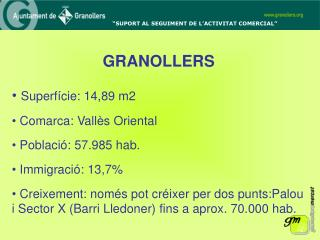 GRANOLLERS Superfície: 14,89 m2  Comarca: Vallès Oriental  Població: 57.985 hab.