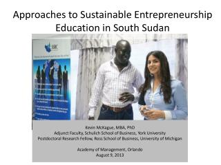 Approaches to Sustainable Entrepreneurship Education in South Sudan