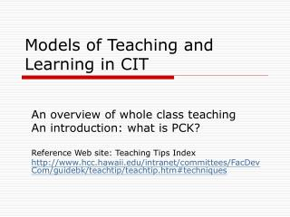 Models of Teaching and Learning in CIT